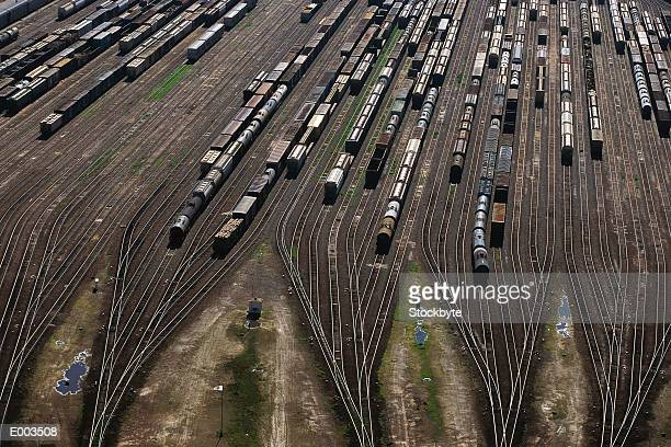 overhead view of freight yard & tracks - shunting yard stock photos and pictures