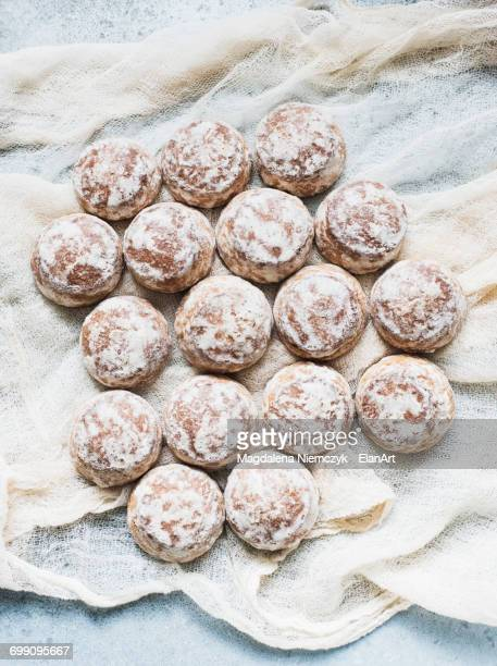 Overhead view of fresh scones on muslin