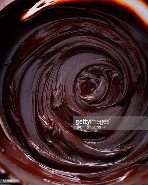 Overhead view of glossy chocolate ganache