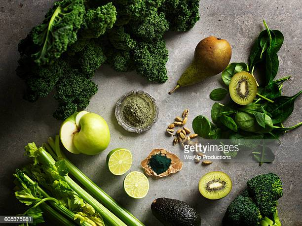Overhead view of green colour fruit and vegetables