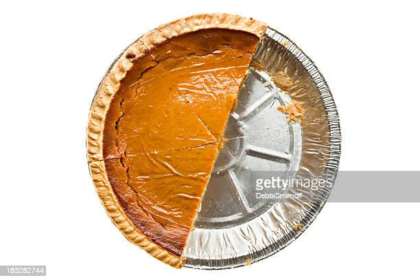 Overhead View of Half A Pumpkin Pie