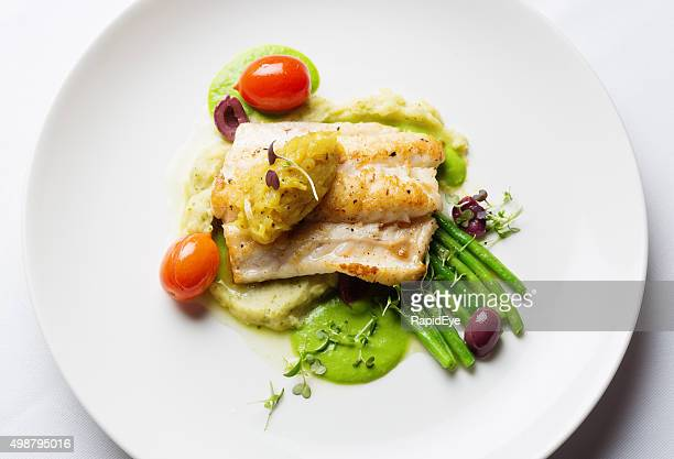 overhead view of healthy and delicious grilled fish restaurant dish - pureed stock photos and pictures