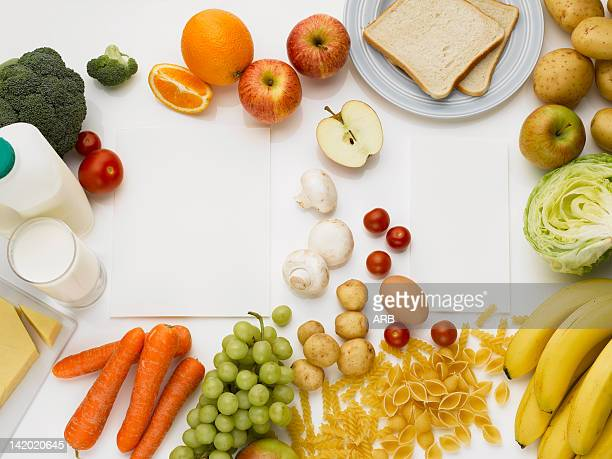 Overhead view of healthy foods