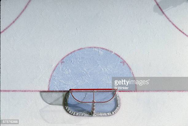 Overhead view of hockey goal net and crease February 1995