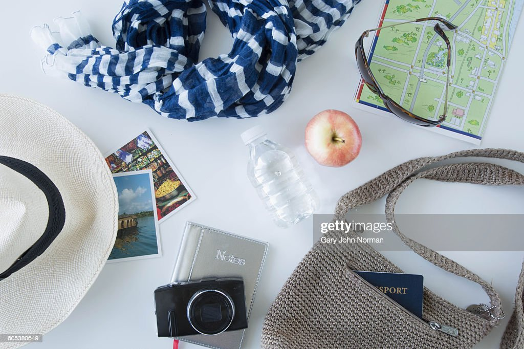 Overhead view of items being prepared for sightseeing on city break : Stock Photo