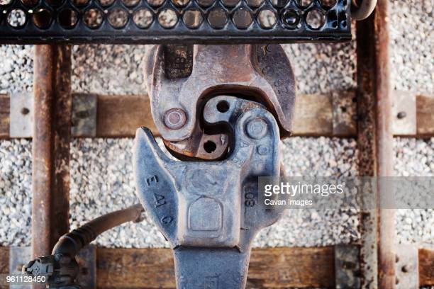 overhead view of janney coupler - link chain part stock photos and pictures