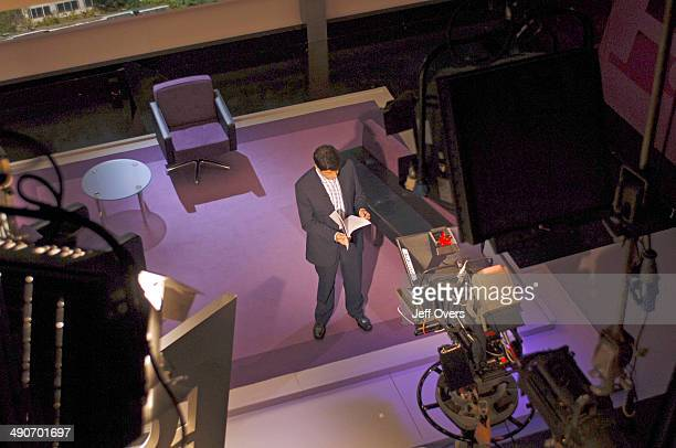 Overhead view of Jon Sopel on the set of BBC news and current affairs programme The Politics Show Production shot studio cameras technical equipment...
