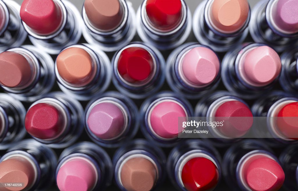Overhead view of lipsticks : Stock Photo