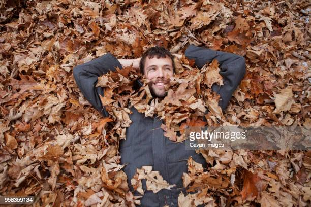 overhead view of man lying in leaves at park - lying down photos et images de collection