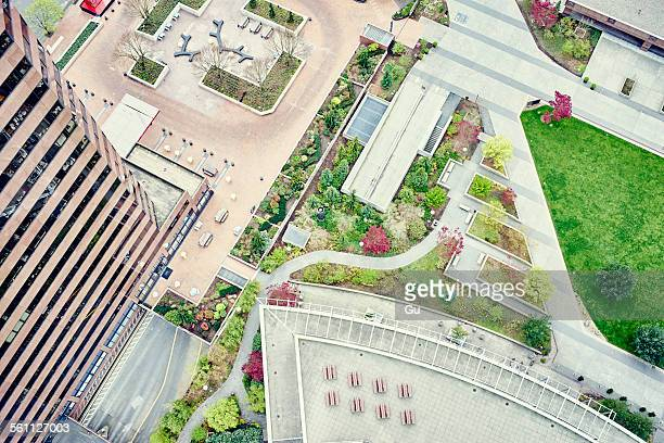 overhead view of office building and recreational area, seattle, washington state, usa - bellevue washington state stock photos and pictures
