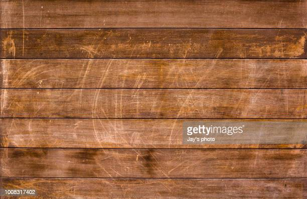 overhead view of old dark brown wooden table - 机 木 ストックフォトと画像