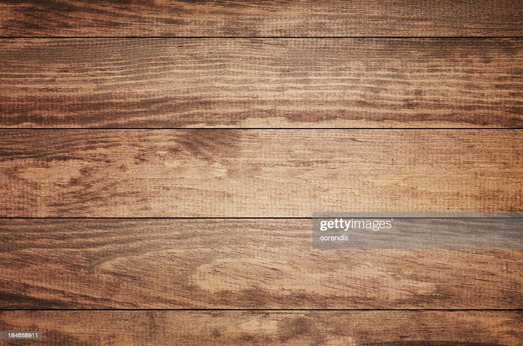 Overhead view of old dark brown wooden table : Stock Photo