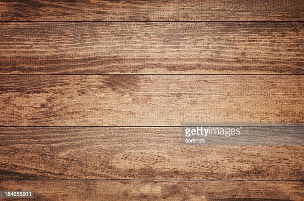 overhead view of old dark brown wooden table - hout stockfoto's en -beelden