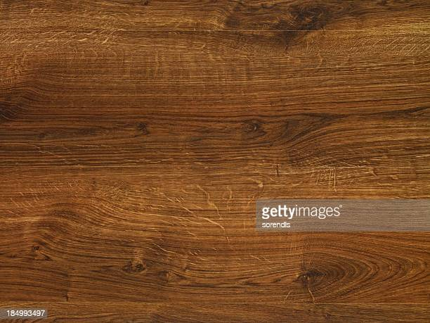 overhead view of old dark brown wooden table - wood stock photos and pictures