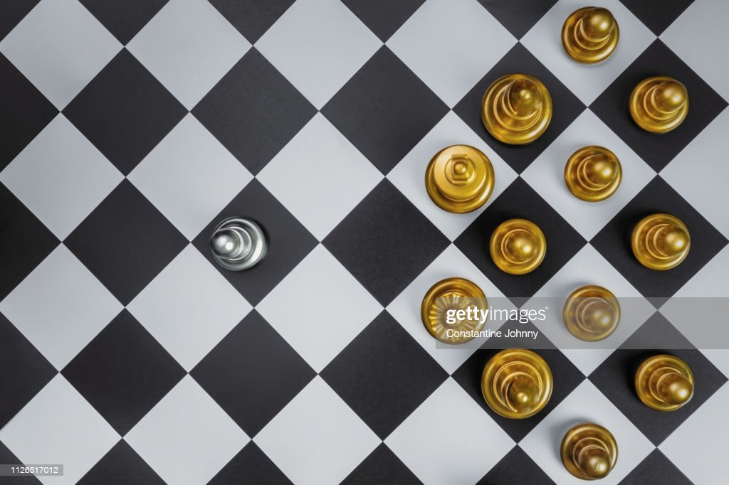 Overhead View of One Pawn Figure Standing Against Mighty Enemies. Chess Concepts. Bravery & Last Man Standing. : Stock Photo