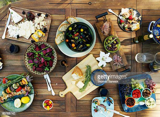 Overhead view of outdoor dining table with selecti