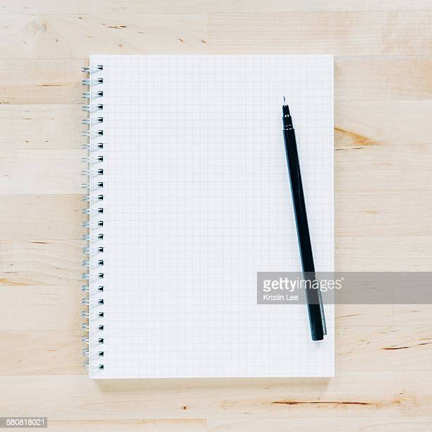 Overhead view of pen on notebook