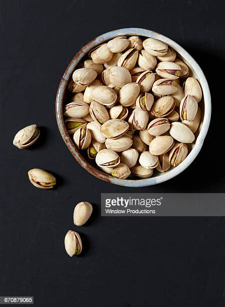 Overhead view of pistachio bowl