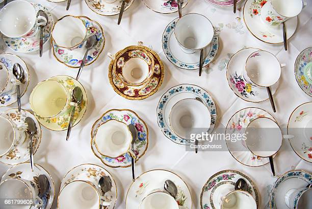 Overhead view of porcelain Teacups