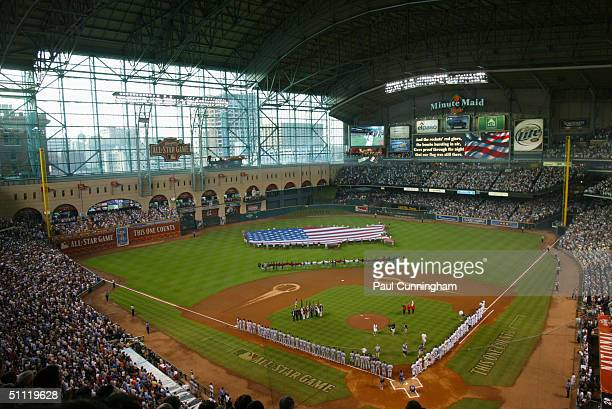 Overhead view of pregame ceremonies prior to the 2004 the Major League Baseball AllStar Game at Minute Maid Park on July 13 2004 in Houston Texas