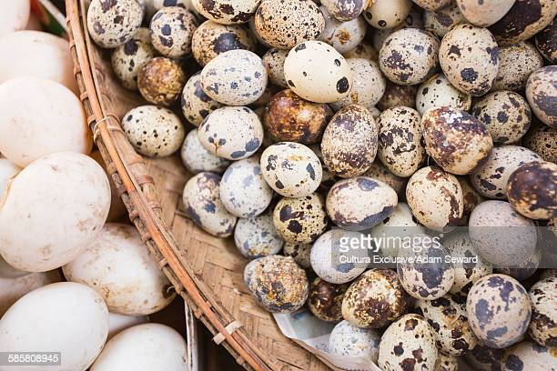 Overhead view of quail and duck eggs in basket