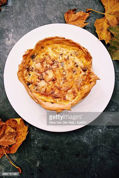 Overhead View Of Quiche On Plate