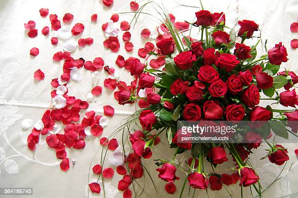 Overhead view of red roses on a table