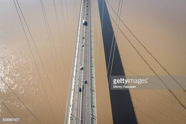 Overhead view of roadway on suspension bridge. The Humber Bridge, UK was built in 1981 and at the time was the worlds largest single-span suspension bridge
