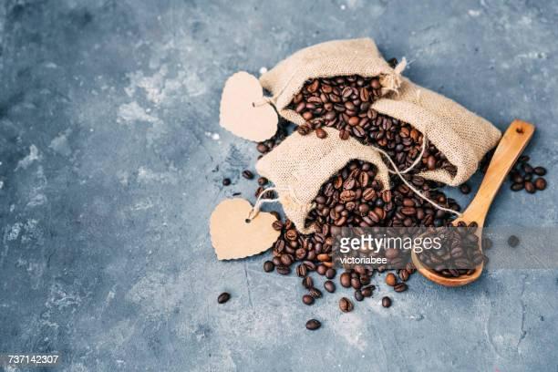 Overhead view of sacks of coffee beans
