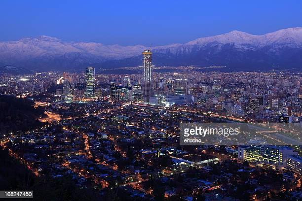 Overhead view of Santiago at dusk