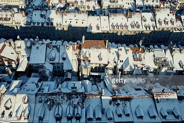 Overhead view of snow covered rooftops, Berne, Switzerland