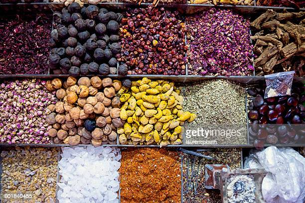 Overhead view of Spices at market, Dubai, UAE