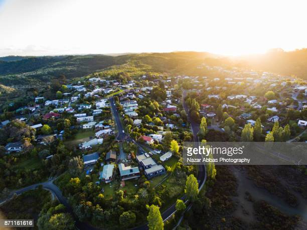Overhead view of Stillwater village, North Auckland, New Zealand.