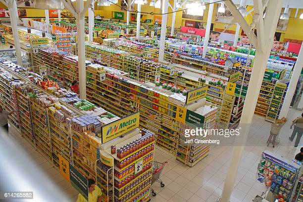 Overhead view of supermarket shelves in Avenida Miguel Grau