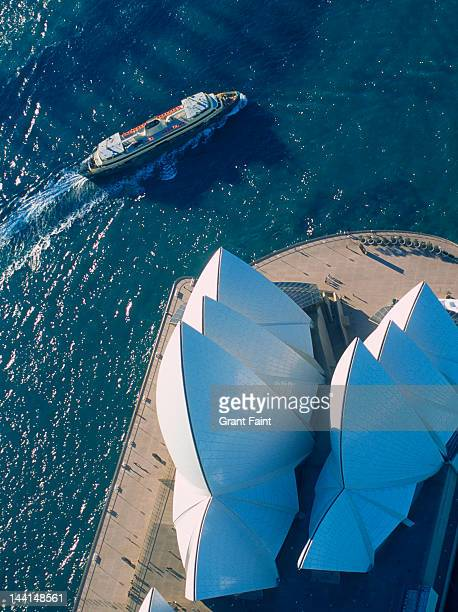 Over-head view of Sydney Opera House and ferry