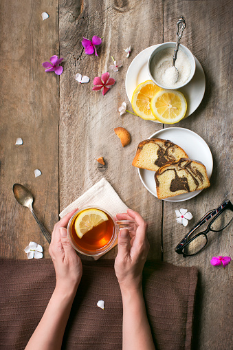 Overhead view of tea break food and drink table top image. - gettyimageskorea