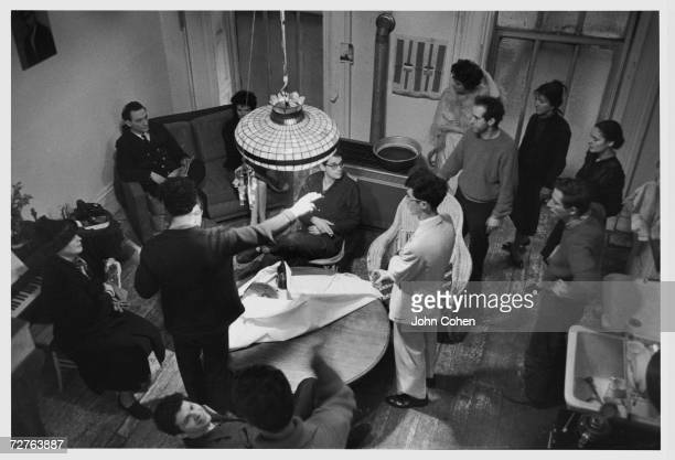 Overhead view of the cast of the Beat film 'Pull My Daisy' 1959 From left Alice Neel Larry Rivers Delphine Seyrig Allen Ginsberg Delphine Yungerman...