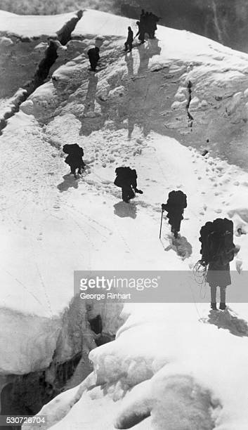 Overhead view of the Dyhrenfurth expedition on Mount Everest showing climbers between crevices at Jongsong Peak The expedition which included Frank S...