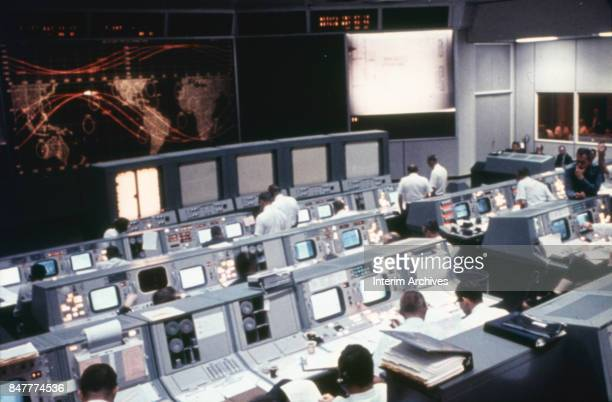 Overhead view of the Mission Operations Control Room at NASA's Manned Space Center Houston Texas 1960s