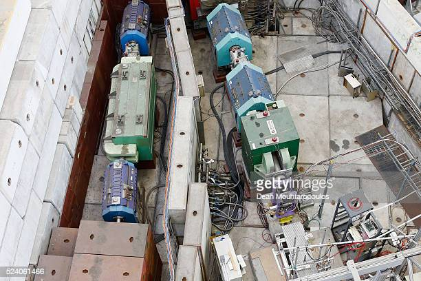 A overhead view of the on of the four beam lines T8 T9 T10 and T11 being run at CERN in The East Area Hall building 157 at The European Organization...