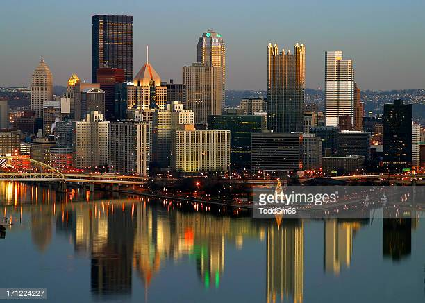 Overhead view of the Pittsburgh skyline at dusk