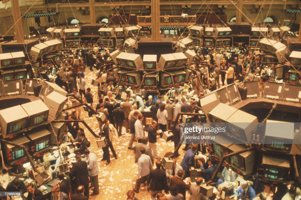 Overhead view of the trading floor of the New York Stock Exchange (NYSE), New York, New York, 1970s.
