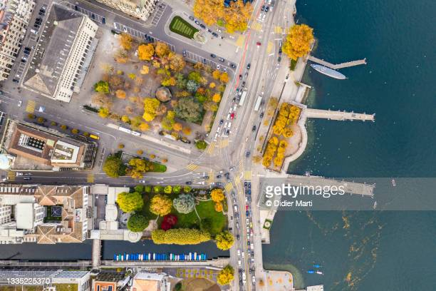 overhead view of the zurich lakefront in switzerland largest city - waterfront stock pictures, royalty-free photos & images