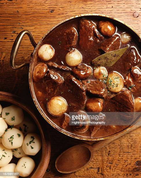 Overhead view of traditional French beef burgundy dish