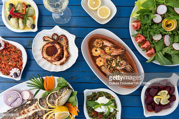 Overhead view of traditional turkish foods, Bodrum, Turkey