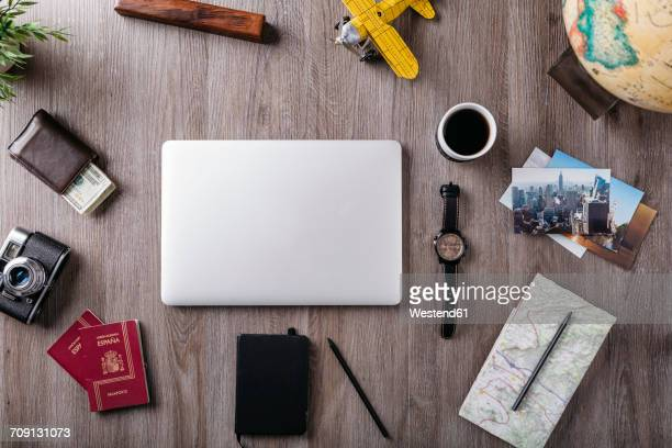 overhead view of travel items on table - flat lay stock pictures, royalty-free photos & images