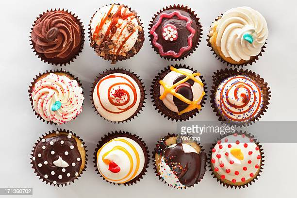 overhead view of tray with cupcakes - group of objects stock photos and pictures