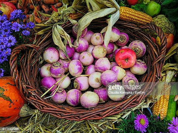 overhead view of turnips in basket - turnip stock pictures, royalty-free photos & images