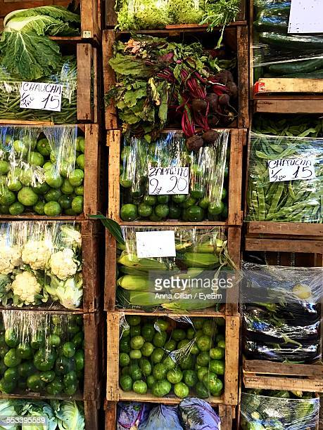 Overhead View Of Vegetables In Crates