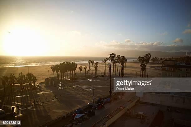 Overhead view of Venice Beach, Los Angeles, USA